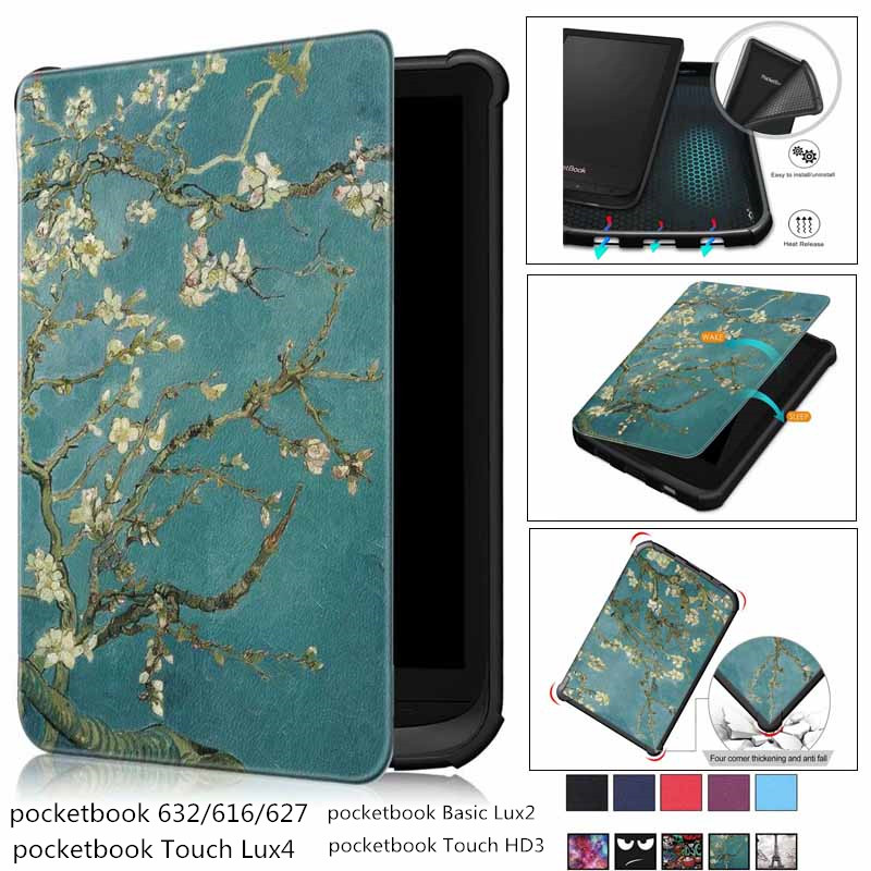 New Soft Magnet Case For PocketBook 616 627 632 Smart Cover For PocketBook Touch Lux 4 Funda Basic Lux 2 Touch HD 3 Funda Case