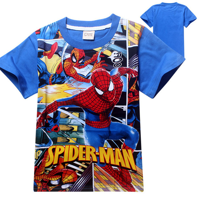 0384b239 2016 Boy's T shirt Spiderman Cotton Short-sleeved Tees Children's Cartoon  Blue Kids Clothes for 3-10yrs Boys 5pcs/lot Wholesale