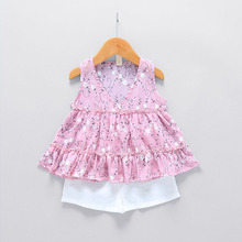WYNNE GADIS Summer Baby Girls Sleeveless V Neck Floral Print Vest Tutu Blouse Tops + Shorts Kids Two Pieces Suits Clothing Sets