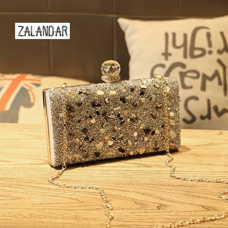 ФОТО ZALANDAR Woman Evening bag Women Gold Clutch bags Crystal Day Clutch Wallet Wedding Purse Party Banquet