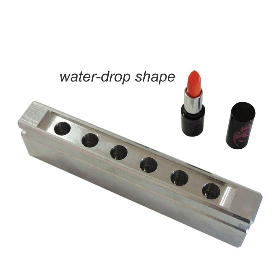 6 cavités/trous en aluminium rouge à lèvres moule moule pour lipbalm_Waterdrop/Teardrop Forme, 12.1mm 12.7mm, moq-1set