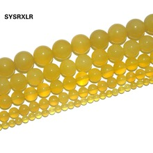 Free Shipping Natural Stone Yellow Agates Beads Round Loose For Jewelry Making DIY Bracelet Necklace 4 6 8 10 12 MM Strand 15