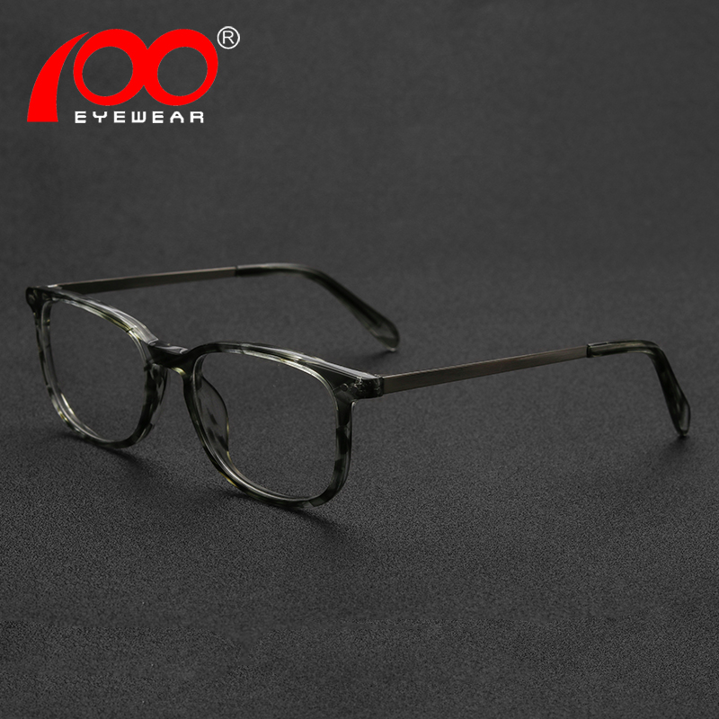 8822b7389568 Fashion Acetate and Metal Rectangle Optical Glasses Frame Men Zebra Spectacle  Eye Myopia Eyewear Super Discount in Bundles-in Eyewear Frames from Apparel  ...