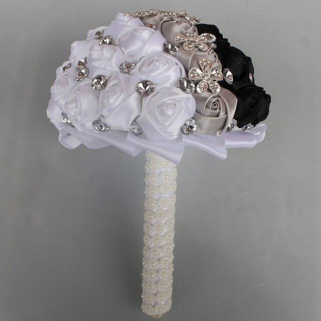 online shop black white silver artificial flowers bouquets diamond