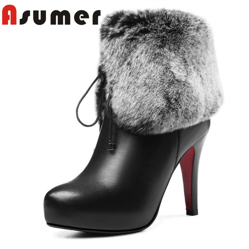 ASUMER 2018 new arrive genuine leather boots pointed toe thin heels ankle boots for women fashion solid winter high heels boots drop shipping 2015 fashion arrive sexy full grain leather lady high heels motorcycle boots for women genuine leather ankle boots