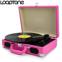 LoopTone Battery Powered Portable 3 Speed Suitcase Briefcase Turntable Vinyl LP Record Player Phono Players Speakers