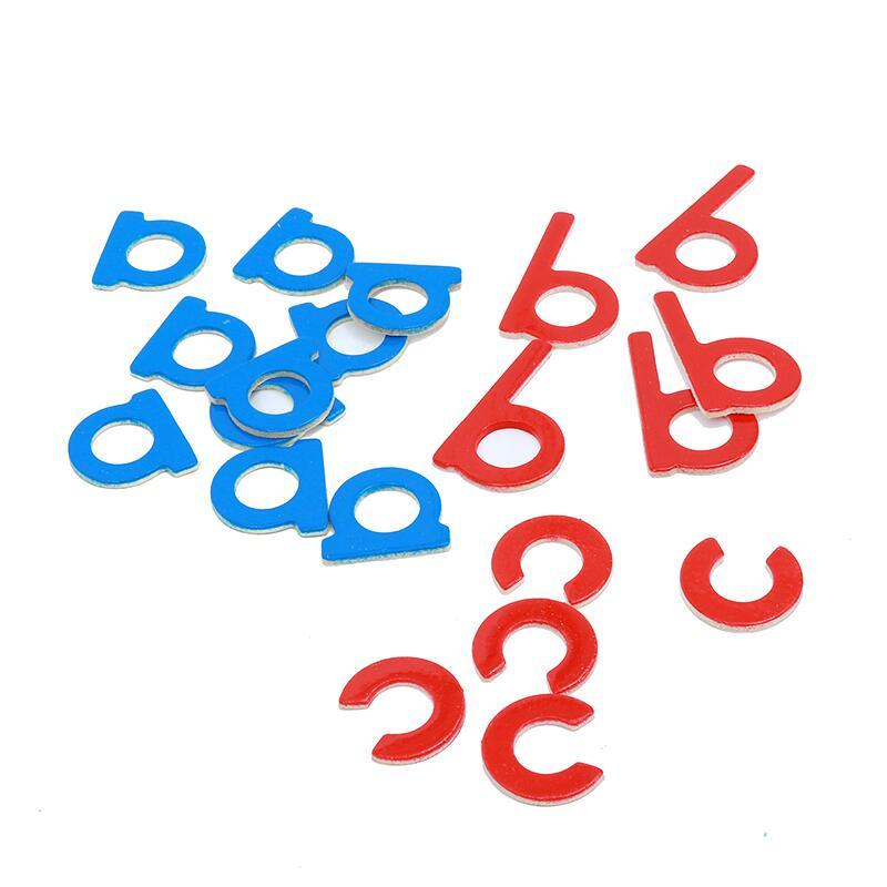 1 set Baby Speelgoed Montessori Hout Kleine Beweegbare Alfabet Red & Blue met Doos Voorschoolse Vroeg Kinderen - 4