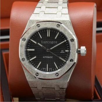 Luxus marke mens AAA silber diamanten uhr schwarz zifferblatt 15400 Serie 41mm automatische glide glatte zweite hand uhren edelstahl st
