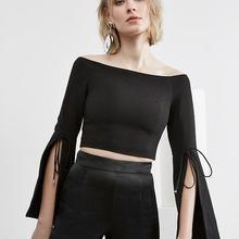 Сексуальная рубашка с вырезом лодочкой, Раздвоенная вспышка рукава, с открытыми плечами, высокое качество, женская короткая рубашка, облегающая Элегантная укороченная рубашка, весна-лето