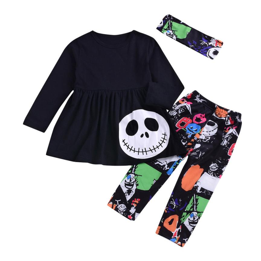 Baby Girl Clothes Halloween Cosplay Letter Ghost Dresses Pants Outfits Newborn Winter Long Sleeve Set Baby Warm Clothes 18Aug14