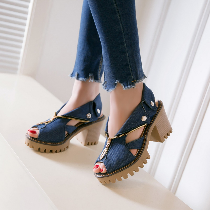sandalias plataforma 2017 women Fish mouth thick bottom Denim High heel sandals Women Summer shoes  size 34-39