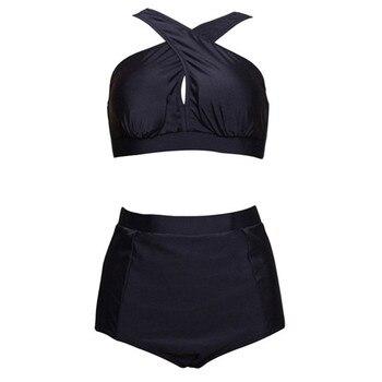 HYCOOL Plus Size Swimwear Women Swimsuit 2017 New Bikinis High Waist Bathing Suits Print Retro Floral Bikini Set Swim Wear 5XL telephony