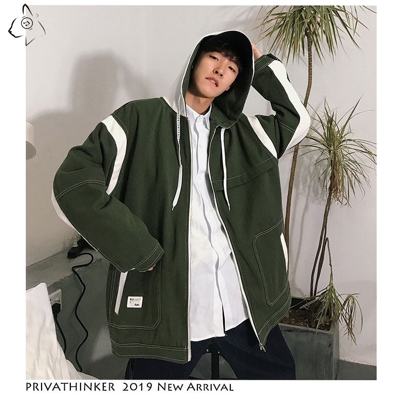 Privathinker 2019 Man Harajuku Zipper Hat Jackets New Windbreaker Jackets Mens Male Autumn Patchwork Oversize Jacket Streetwear(China)