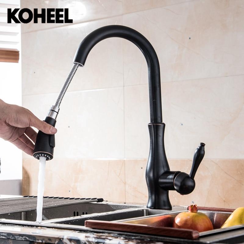Nouveau robinet de cuisine retirer 360 degrés Rotation Nickel brossé ORB mitigeur évier eau chaude et froide robinet mélangeur