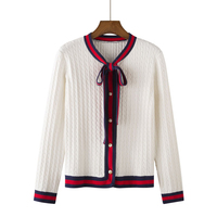GABERLY Soft Cashmere Bow knot Pearl Buckle Twist Cardigan Sweater for Women Loose Spring and Autumn Sweater Brand Cardigans