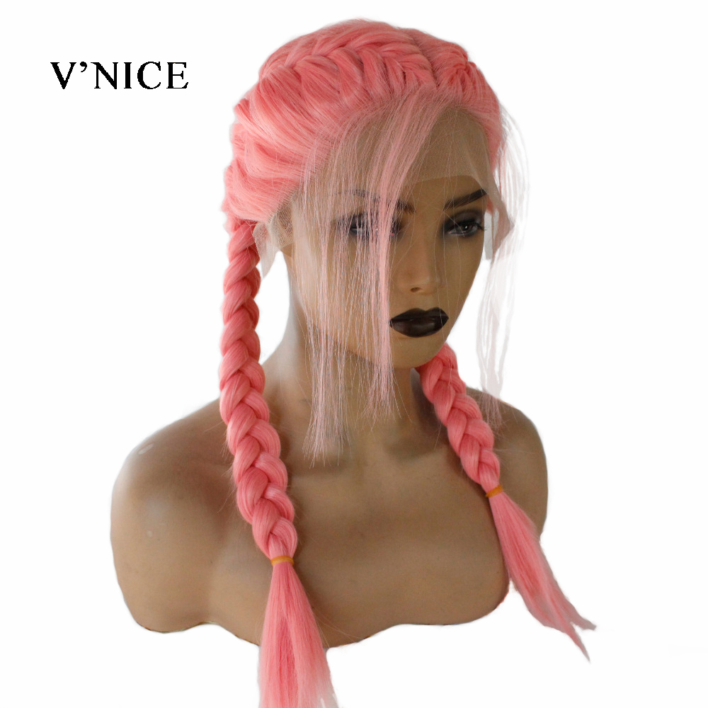 V NICE Pink Double Braid Wig With Baby Hair Synthetic Lace Front Wigs Heat Resistant Fiber