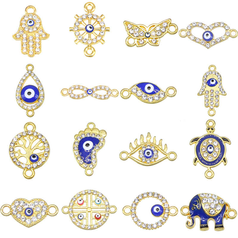 6 חתיכות/מזל עין רעה תליון 16 סוגים עיניים רעות Diy תכשיטי אביזרי קסם שרשרת צמיד מחבר וטבעות