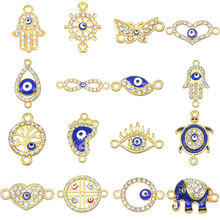 6 pieces / lucky evil eye pendant 16 types evil eyes Diy jewelry accessories charm necklace bracelet connector and rings(China)