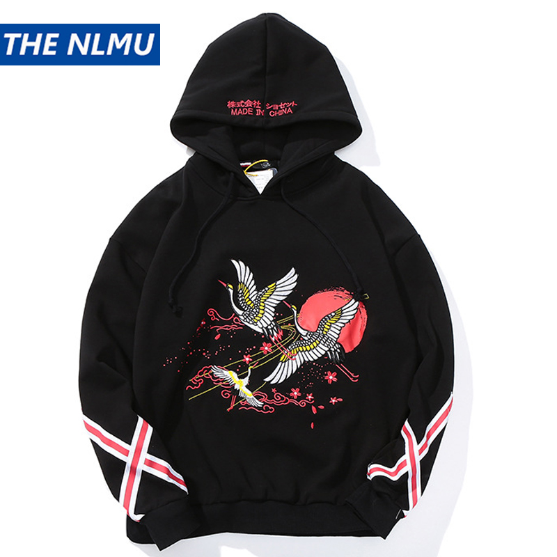 Broderie Japonais Grues Pull sweat à capuche pour homme Femmes hip hop décontracté sweatshirts à capuche Mâle Printemps Streetwear Hoodie WJ083
