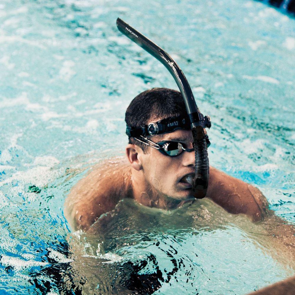 NACATIN SN613 Snorkel Swimmer Beginner Adult Open Top Drain Valve Silicone Head Strap User-friendly Design Comfortable Snorkel