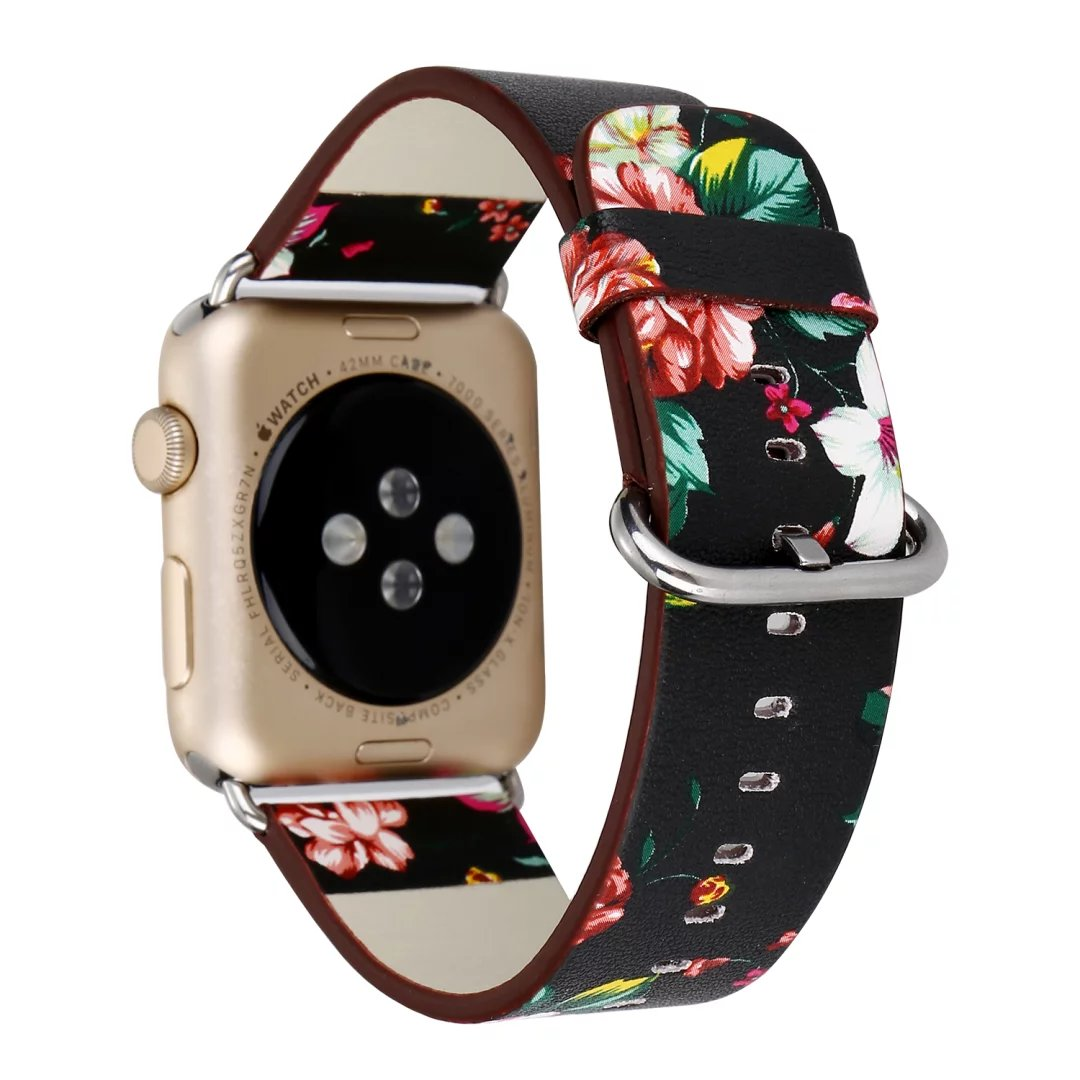 Black White Vintage Floral Leather Watch Band for Apple Watch Series 1 2 3 Strap Flower Wristband for iWatch Band Bracelet luxury ladies watch strap for apple watch series 1 2 3 wrist band hand made by crystal bracelet for apple watch series iwatch