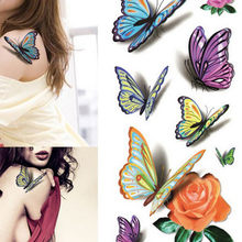 1pc Temporary Tattoo Sticker Waterproof 3D Butterfly Body Sternum Fake Tattoo Stickers Tatoo Tatuajes Temporales #h(China)