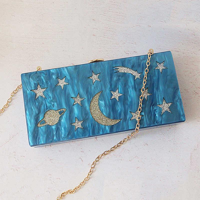Moda Acrílico Clutch Purse Feminino Bonito Dos Desenhos Animados Padrão de Céu Estrelado Mulheres Sliver Lantejoulas Noite Saco de Embreagem Saco de luxo Bolsa