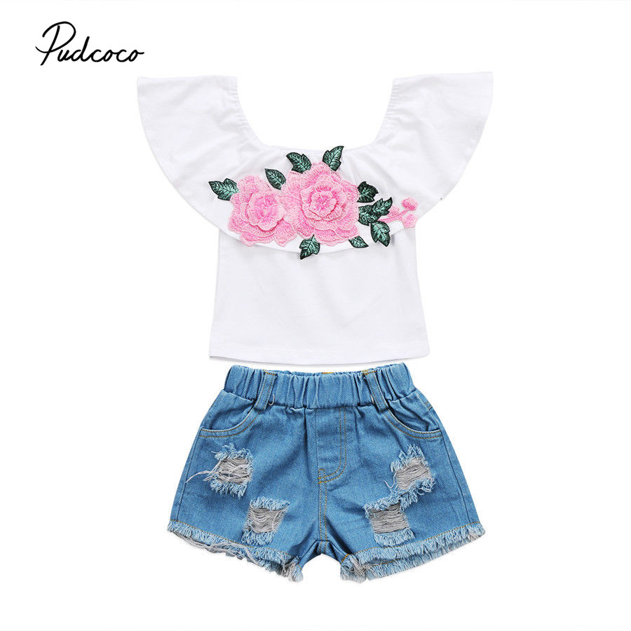 2017 Brand New Toddler Infant Child Kids Baby Girls Tops Ripped Denim Shorts Pants 2pcs Clothes Casual Outfits Set 1-6T 1 7y toddler kids clothes 2017 fashion children girls leopard hooded vest t shirt tops hole jean denim shorts 2pcs clothing set