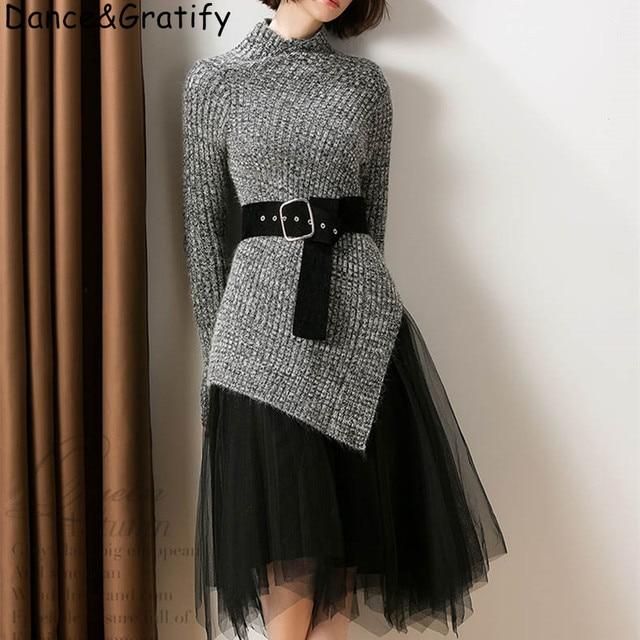 חדש 2019 סתיו חורף אופנה בגדי סטי נשים מוצק סדיר סריגה צמר חולצות סוודר + קטיפה רשת חצאית חליפה