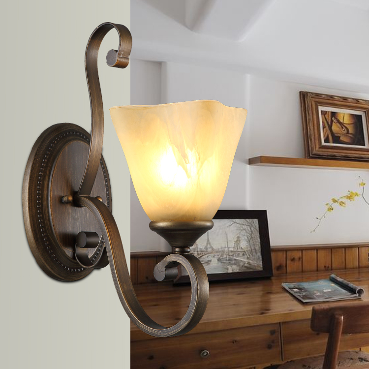 Wall light Bronze antique bedroom aisle lights village balcony lamp mirror iron wall lamp FG671