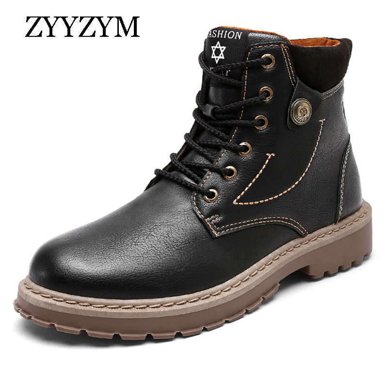 ZYYZYM Mens Boots Autumn Spring Pu Leather Motorcycle Men Fashion Outdoor Ankle Work Hot Sale