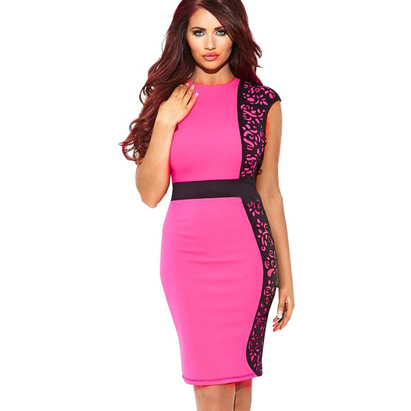 New Fashion Elegant Celeb O-neck Sleeveless Knee-length Patchwork Lace Party Evening Pencil Women Dresses Size S M L XL ...