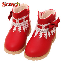New Fashion Winter Children PU Shoes Baby Girls Christmas boots Winter England Retro Martin Boots Kids Boots SKD28