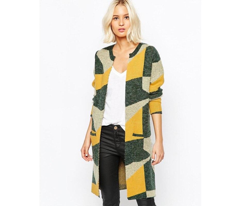 a1b974400a Aztec Cardigan Women Sweater Autumn Fashion Europe Geometric Pattern  Knitted Long Cardigan Feminino Oversized Sweater 9175