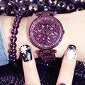 Neue diamant stein lila weiblichen Uhr luxus mode kleid damen Uhr Wasserdicht Zeit Laufende frau quarzuhr
