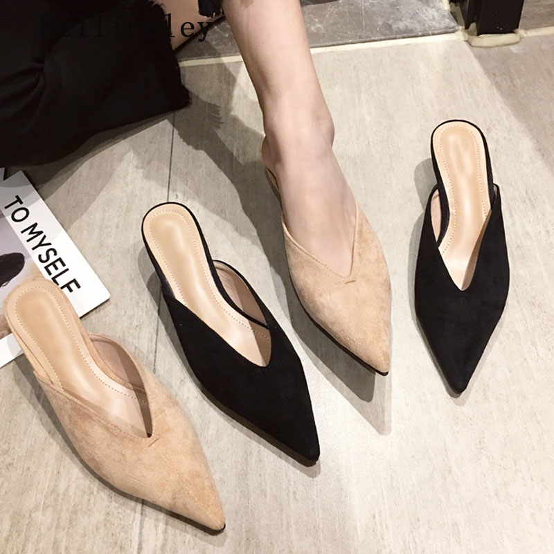 Bellinsley 2019 New Summer Flock Leather Pointed Toe Women Slippers Slip On Mules Thin Low Heels Woman Outdoor Slippers Pumps