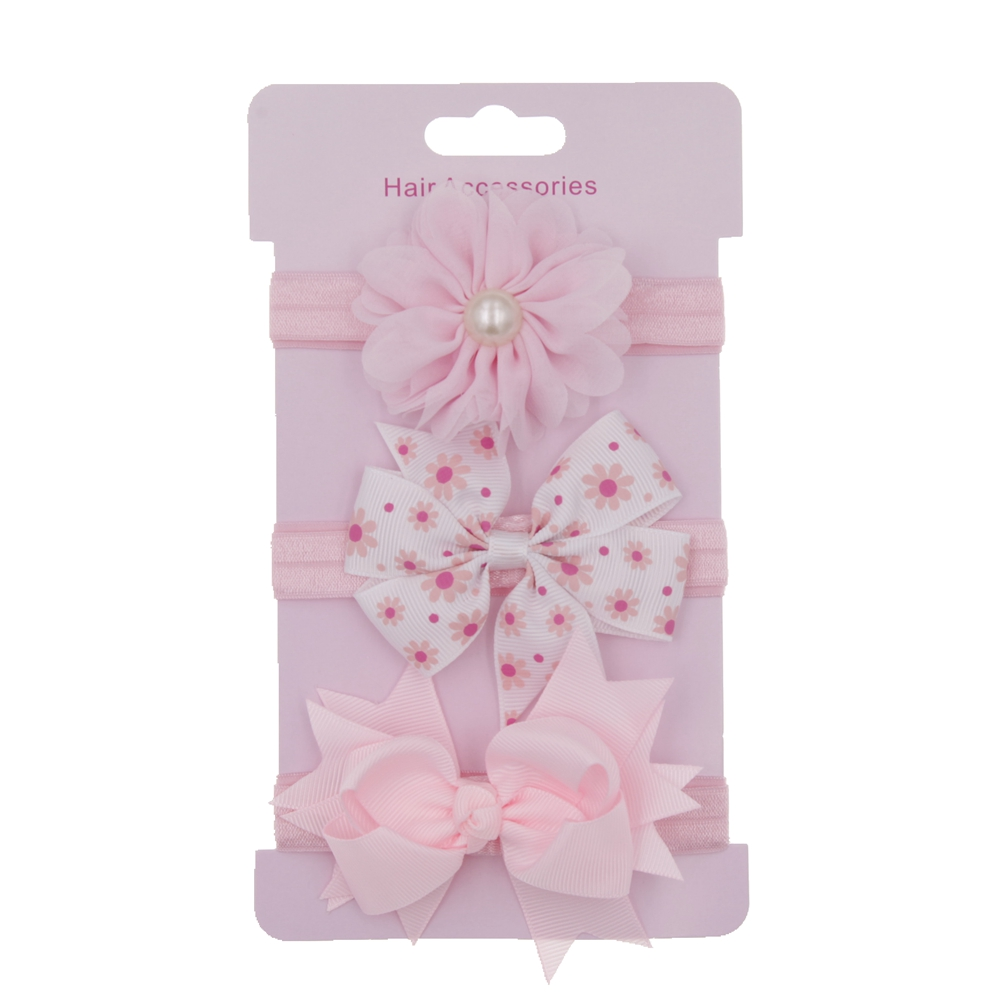 2017 3pcs/set Korean girls headband flowers Bowknot hair bow children cute hair band Set Card hairAccessories   headwear