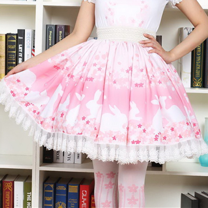 Pink Bunny Cherry blossoms Print Lolita Skirt Soft Sister Cartoon Rabbit Pleated Princess Lace Romantic Girl