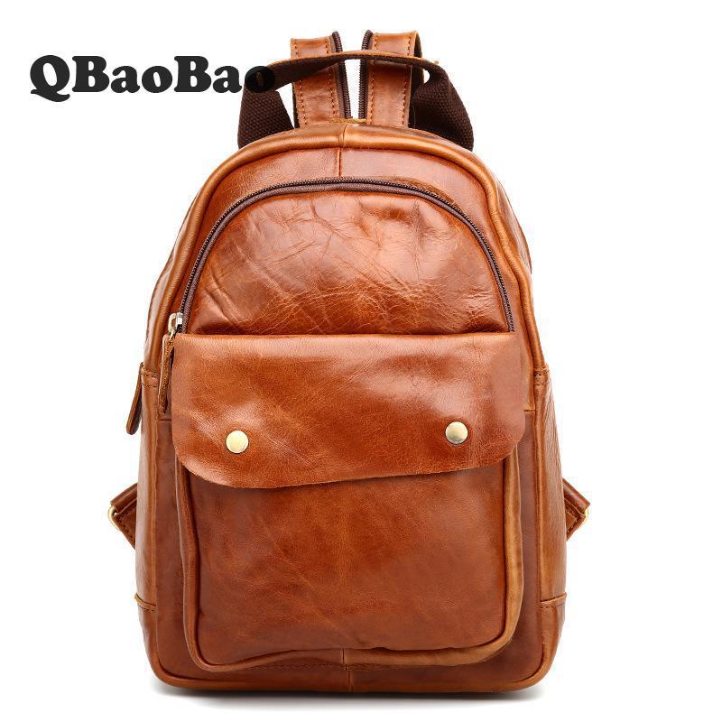 цена 2017 NEW Man Backpack Travel Bag Fashion Wax Oil Genuine Leather Solid Zipper Large Bag For Male laptop backpack онлайн в 2017 году