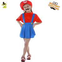 Cute Girls Super Mario Luigi Brothers Costumes Kids Cartoon Character Plumber Dress Up Suits with moustache for Maquerade Gift