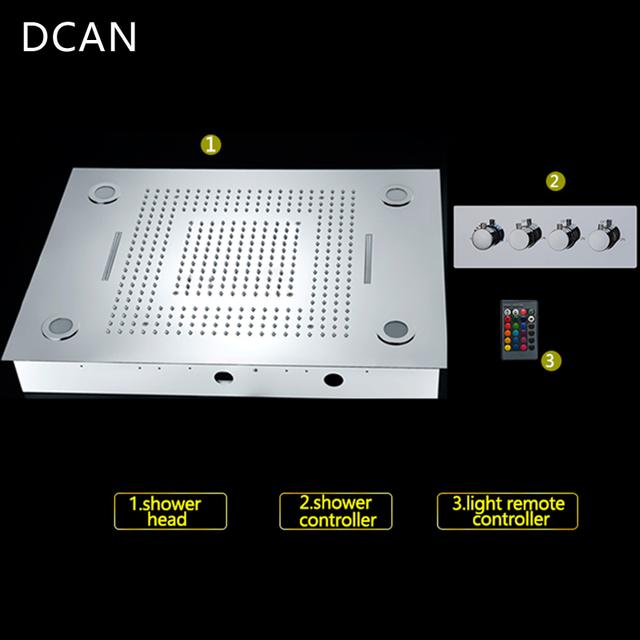 Luxusní dešťový stropní sprchový systém větších rozměrů s LED podsvícením