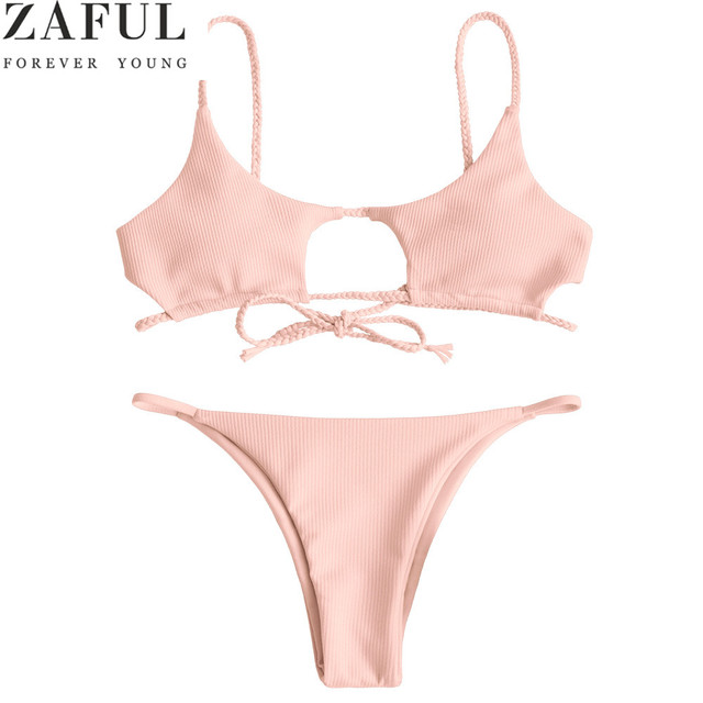 204a46c560 ZAFUL Bikini Knotted Padded Thong Bikini Set Women Braided Ribbed Cutout Swimwear  Swimsuit Solid Bathing Suit