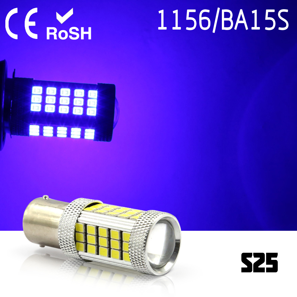 2PCS 1156 P21W BA15S S25 63 smd LED auto brake light car Backup Reverse Lights Rear Direction Indicator blue