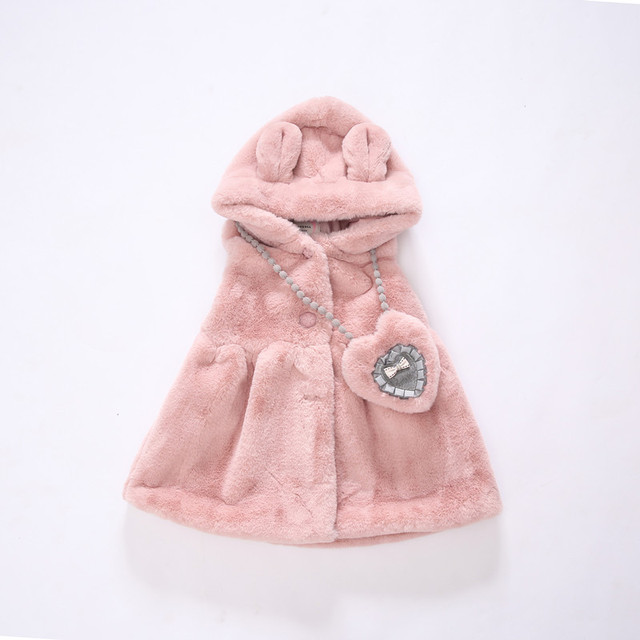 Nueva llegada Girls Chaleco de Invierno Chaleco de Felpa de Dibujos Animados Caliente Engrosada Niños Faux Fur Coat 5-8Y