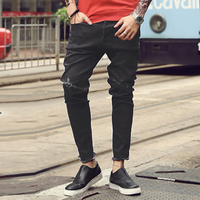 New Men S Jeans Ripped Holes Pants Korean Style Influx Black Casual Trousers Cool Stretch Man
