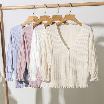Women short cardigan autumn summer thin coat sweater outside sunscreen V-Neck women clothing 2019 off shoulder sweaters