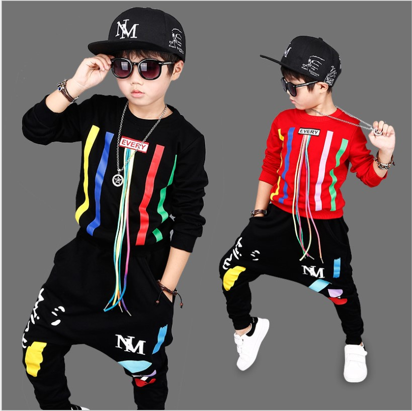 Winter Clothing Sets 2017 Striped Pullover Hip Hop Clothes Boys Two-piece Children Sports Suit Teenage Girls Clothes 13 years