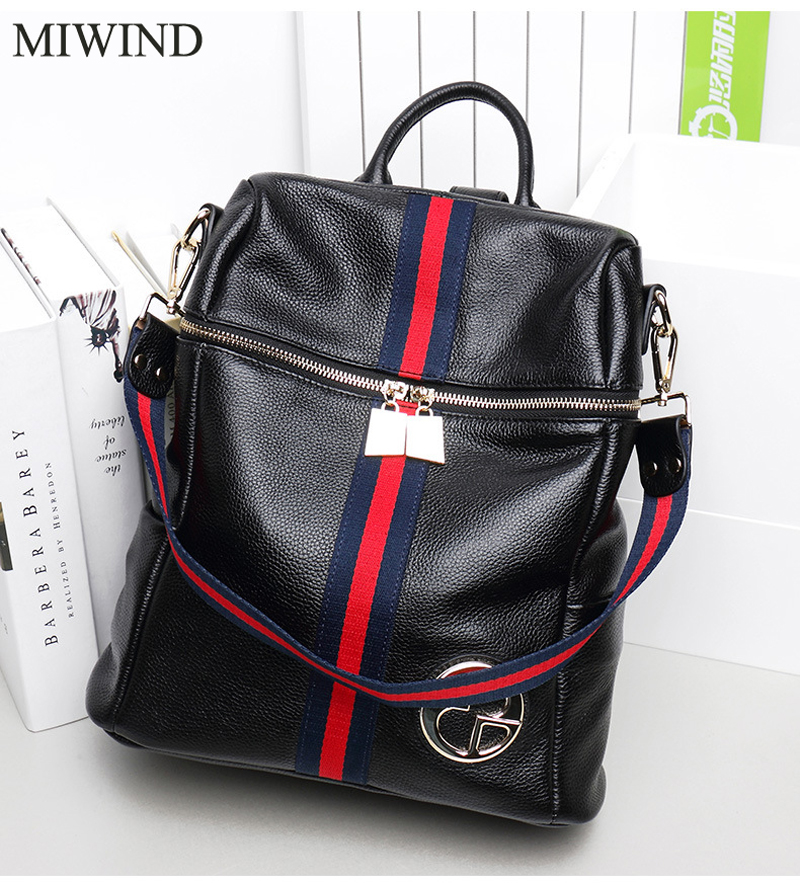MIWIND Backpack Natural Soft Real Leather Backpacks Genuine First Layer Cow Leather Top Layer Cowhide