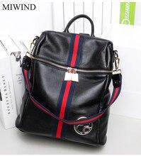 Miwind рюкзак из мягкой натуральной Натуральная кожа Рюкзаки подлинной первый Слои из коровьей кожи Топ Слои коровьей Для женщин рюкзак WUB077