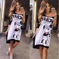 Микки минни маус женщин мики мультфильм dress одежда midi dress vestidos N212